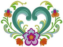 Rosemaling Heart embroidery design