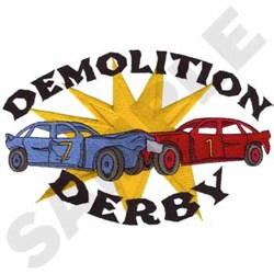 Demolition Derby embroidery design