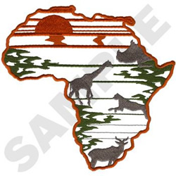 Africa Silhouette embroidery design