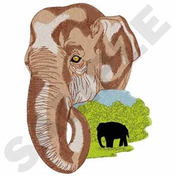 Asian Elephant embroidery design