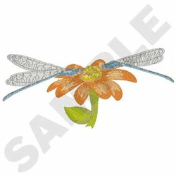 Dragonflies On Flower embroidery design