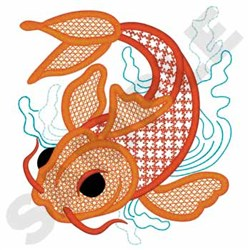 Lace Koi Fish embroidery design