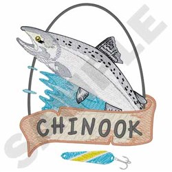 Chinook Salmon embroidery design