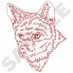 Red Fox Redwork embroidery design