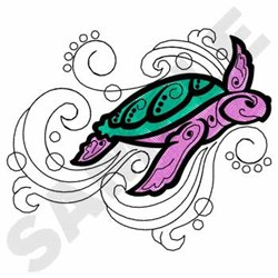 Turtle In Water embroidery design