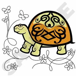 Turtle W/flowers embroidery design