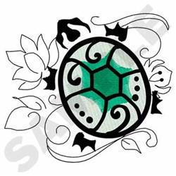 Turtle On Lilypad embroidery design