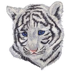 Baby White Tiger Head embroidery design