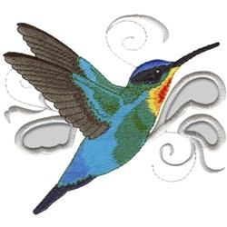 Fiery Throated Hummingbird embroidery design