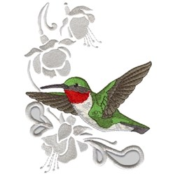 Ruby Throated Hummingbird embroidery design