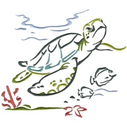 Sea Turtle Scene embroidery design