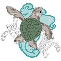 Baby Sea Turtles embroidery design
