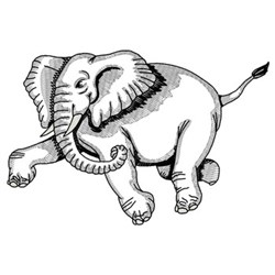 Charging Elephant embroidery design
