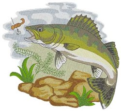 Walleye embroidery design