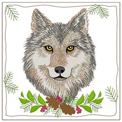 Wolf Quilt Square embroidery design