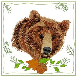 Brown Bear Quilt Square embroidery design