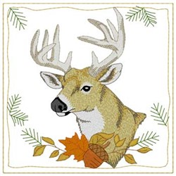 Whitetail Deer Quilt Square embroidery design