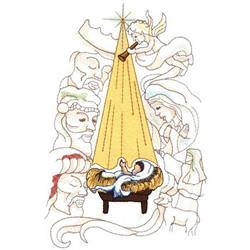 machine embroidery nativity