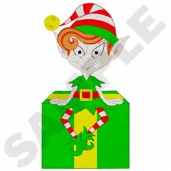 Elf On Gift embroidery design