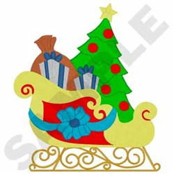 Santa's Sleigh embroidery design