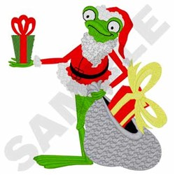 Santa Frog embroidery design