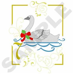 Swimming Swans embroidery design