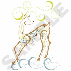 Decorative Reindeer embroidery design