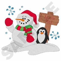 Snowman With Penguin embroidery design