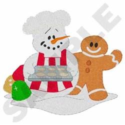 Baking Snowman embroidery design