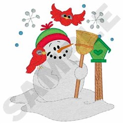 Snowman With Cardinals embroidery design