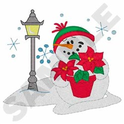 Snowman With Poinsettia embroidery design