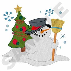 Snowman With Tree embroidery design