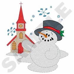 Snowman At Church embroidery design