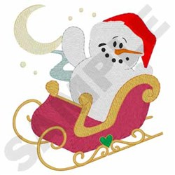 Snowman And Sleigh embroidery design