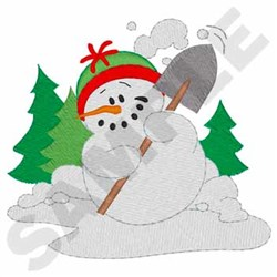 Shoveling Snowman embroidery design