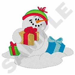 Snowman With Presents embroidery design