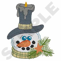 Snowman Candle embroidery design
