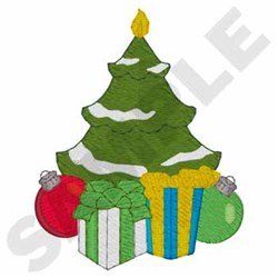 Christmas Tree Candle embroidery design