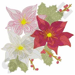 Poinsettia And Holly embroidery design