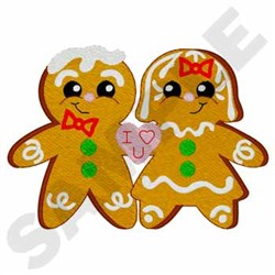 Gingerbread Man Couple embroidery design