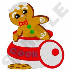 Gingerbread Man In Cookie Jar embroidery design