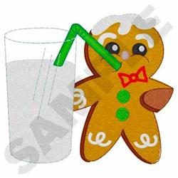 Gingerbread Man W/Milk embroidery design
