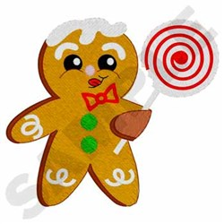Gingerbread Man W/lollipop embroidery design