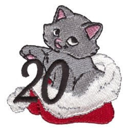 Kitten In Santa Hat embroidery design