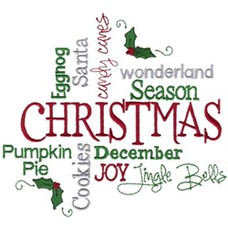 Christmas Words embroidery design