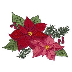 Blooming Poinsettias embroidery design