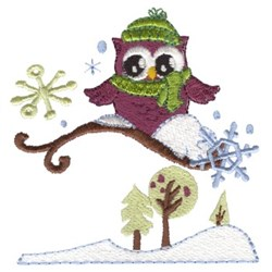 Cute Winter Owls embroidery design