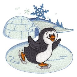 Ice Skating Penguin embroidery design