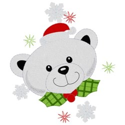 Christmas Polar Bear embroidery design