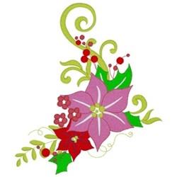 Christmas Poinsettias Corner embroidery design